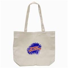 Happy 4th Of July Graphic Logo Tote Bag (cream) by dflcprints