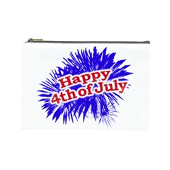 Happy 4th Of July Graphic Logo Cosmetic Bag (large)  by dflcprints