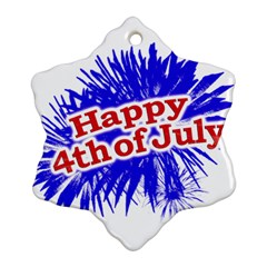 Happy 4th Of July Graphic Logo Snowflake Ornament (two Sides) by dflcprints