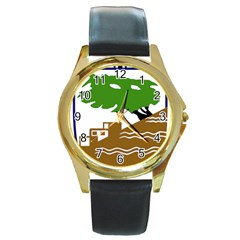 Coat Of Arms Of Holon  Round Gold Metal Watch