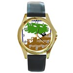 Coat of Arms of Holon  Round Gold Metal Watch Front