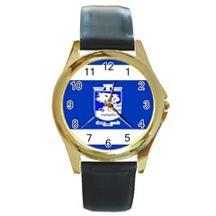 Flag Of Holon  Round Gold Metal Watch by abbeyz71