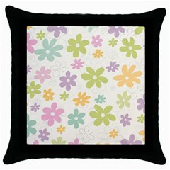 Beautiful Spring Flowers Background Throw Pillow Case (black) by TastefulDesigns