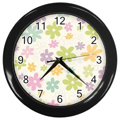 Beautiful Spring Flowers Background Wall Clocks (black) by TastefulDesigns