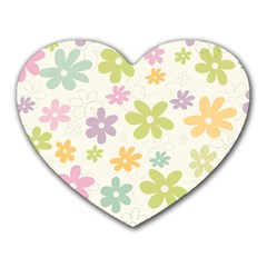Beautiful Spring Flowers Background Heart Mousepads by TastefulDesigns