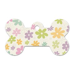 Beautiful Spring Flowers Background Dog Tag Bone (two Sides) by TastefulDesigns