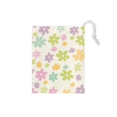 Beautiful Spring Flowers Background Drawstring Pouches (small)  by TastefulDesigns