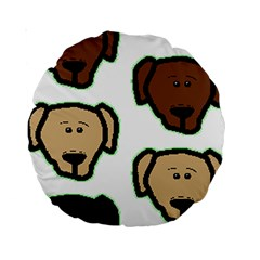 Lab 3 Colors Cartoon Head Standard 15  Premium Round Cushions