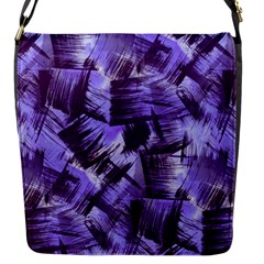 Purple Paint Strokes Flap Messenger Bag (s) by KirstenStar
