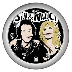 Sid And Nancy Wall Clocks (silver)  by Valentinaart
