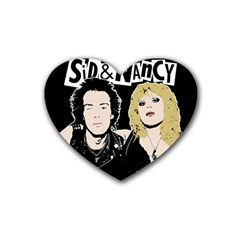 Sid And Nancy Rubber Coaster (heart)  by Valentinaart