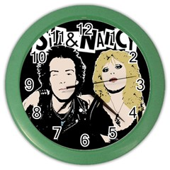 Sid And Nancy Color Wall Clocks by Valentinaart