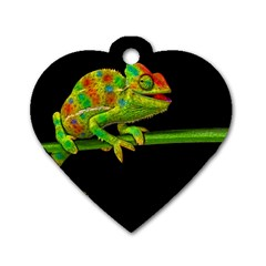 Chameleons Dog Tag Heart (two Sides) by Valentinaart