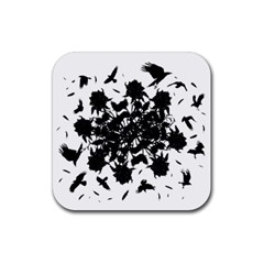Black Roses And Ravens  Rubber Square Coaster (4 Pack)  by Valentinaart