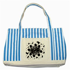 Black Roses And Ravens  Striped Blue Tote Bag