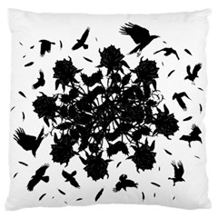 Black Roses And Ravens  Large Flano Cushion Case (two Sides) by Valentinaart