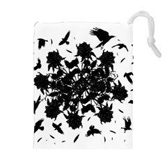 Black Roses And Ravens  Drawstring Pouches (extra Large) by Valentinaart