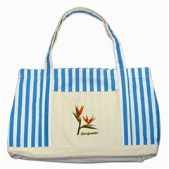 Bird Of Paradise Striped Blue Tote Bag