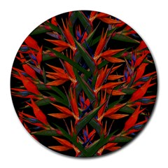 Bird Of Paradise Round Mousepads by Valentinaart