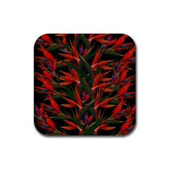 Bird Of Paradise Rubber Coaster (square)  by Valentinaart