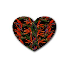 Bird Of Paradise Rubber Coaster (heart)  by Valentinaart