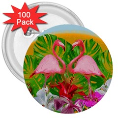 Flamingo 3  Buttons (100 Pack)  by Valentinaart