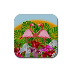 Flamingo Rubber Square Coaster (4 Pack)  by Valentinaart