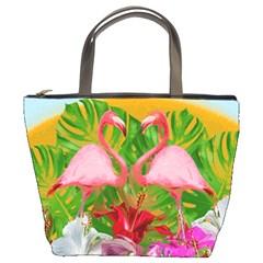 Flamingo Bucket Bags by Valentinaart