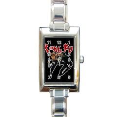 Kung Fu  Rectangle Italian Charm Watch by Valentinaart