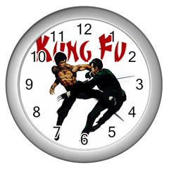 Kung Fu  Wall Clocks (silver)  by Valentinaart