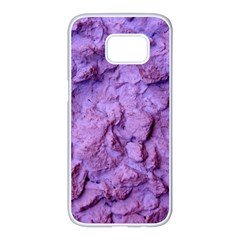 Purple Wall Background Samsung Galaxy S7 Edge White Seamless Case by Costasonlineshop