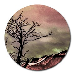 Fantasy Landscape Illustration Round Mousepads by dflcprints