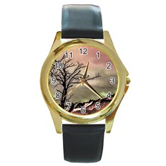 Fantasy Landscape Illustration Round Gold Metal Watch by dflcprints