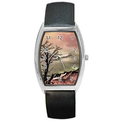 Fantasy Landscape Illustration Barrel Style Metal Watch by dflcprints