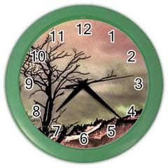 Fantasy Landscape Illustration Color Wall Clocks by dflcprints