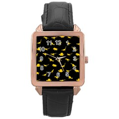 Dinosaurs Pattern Rose Gold Leather Watch  by ValentinaDesign