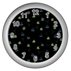 Cactus Pattern Wall Clocks (silver)  by ValentinaDesign