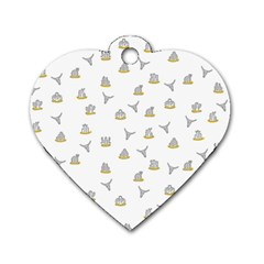 Cactus Pattern Dog Tag Heart (one Side) by ValentinaDesign