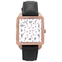 Cactus Pattern Rose Gold Leather Watch  by ValentinaDesign
