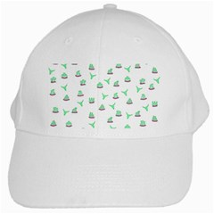 Cactus Pattern White Cap by ValentinaDesign