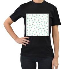Cactus Pattern Women s T Shirt (black) by ValentinaDesign