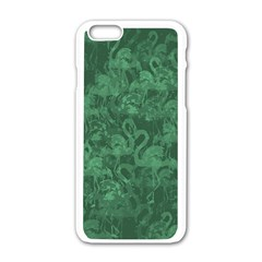 Flamingo Pattern Apple Iphone 6/6s White Enamel Case by ValentinaDesign