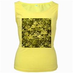 Flamingo pattern Women s Yellow Tank Top