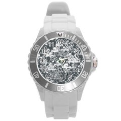 Flamingo Pattern Round Plastic Sport Watch (l) by ValentinaDesign