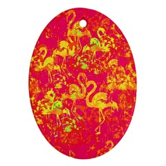 Flamingo Pattern Ornament (oval) by ValentinaDesign