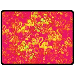 Flamingo Pattern Double Sided Fleece Blanket (large)  by ValentinaDesign