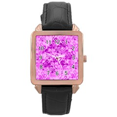 Flamingo Pattern Rose Gold Leather Watch  by ValentinaDesign