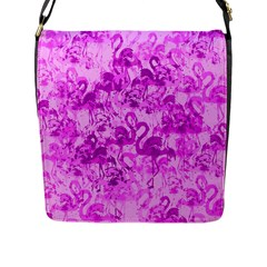 Flamingo Pattern Flap Messenger Bag (l)  by ValentinaDesign