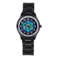 Abstract Mechanical Object Stainless Steel Round Watch