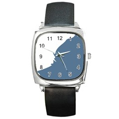 Blue White Hill Square Metal Watch by Mariart